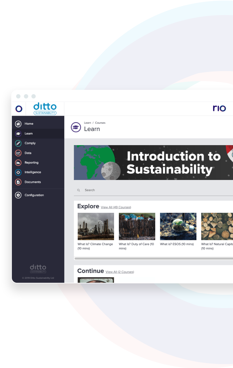 RIO platform learn screen